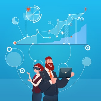 Бизнес-леди и человек носят цифровую концепцию финансового успеха диаграммы финансов виртуальной реальности