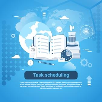 Веб-баннер шаблона планирования задач с копией пространства