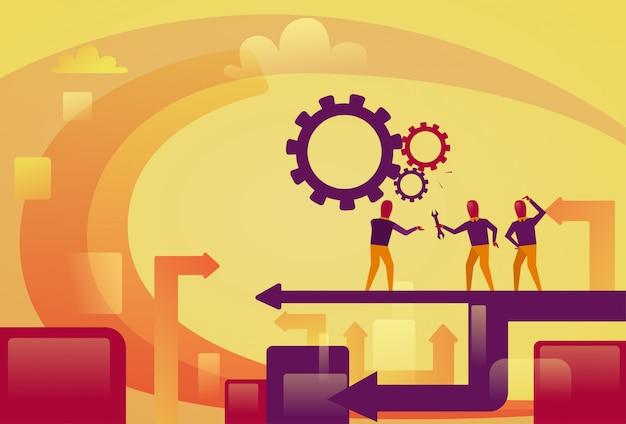 歯車の上の抽象的なビジネス人々のグループの背景ブレーンストーミングプロセスの概念