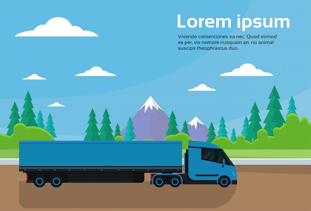 コピースペースを持つ山の風景バナー上の田舎の半トラックトレーラー運転道路
