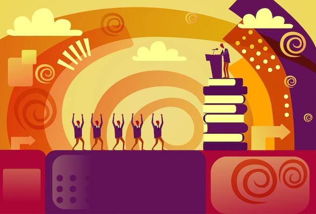 陽気な観客の会議や会議のコンセプトとトリビューンでのビジネスマンのスピーカー