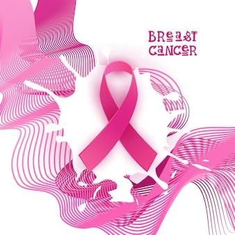 乳房癌意識月ピンクのリボンのシンボル