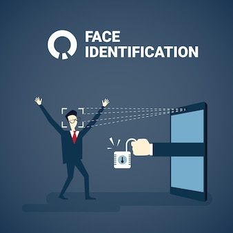 現代のバイオメトリック技術認識システムの概念をスキャン顔識別の後にアクセスを得る人
