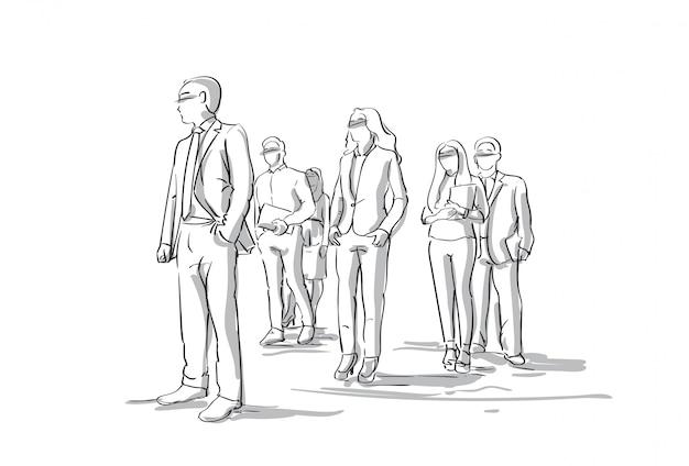 スケッチのグループビジネスマンビジネスの男性と女性の群衆フルレングス