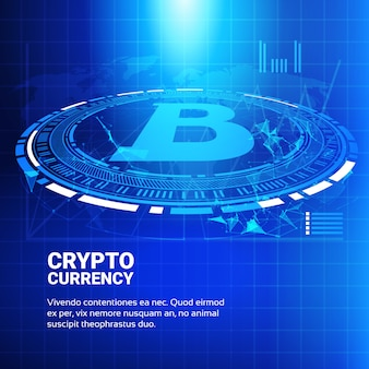 Биткойн-диаграммы на синем фоне карты мира криптовалюта торговая концепция инфографика баннер