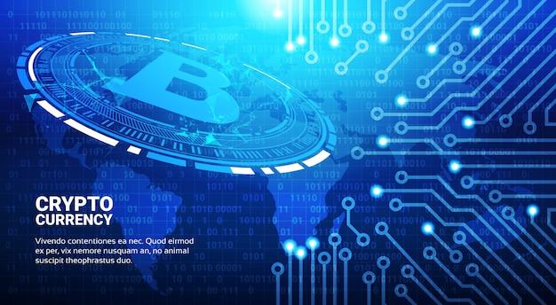 ブルーワールドマップの背景にビットコインのシンボル暗号通貨マイニングネットワークの概念