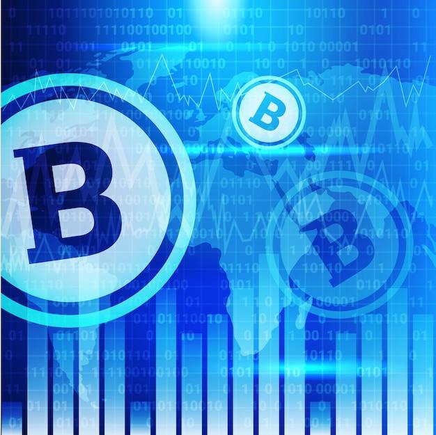 ブルーワールドマップの背景にビットコインチャートクリプト通貨取引コンセプトデータインフォグラフィックバナー