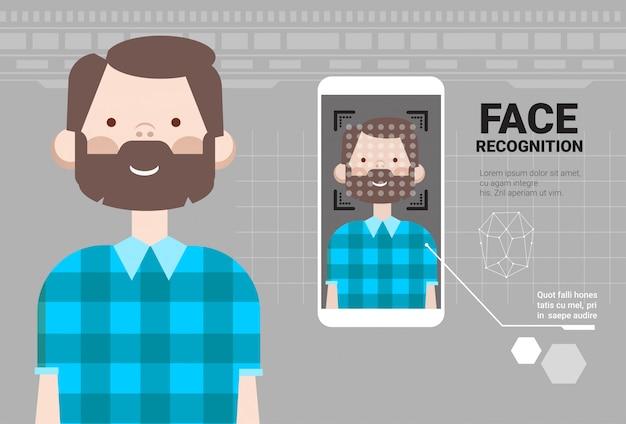 Смартфон сканирование человека лицо современная система идентификации современная технология концепции биометрического распознавания
