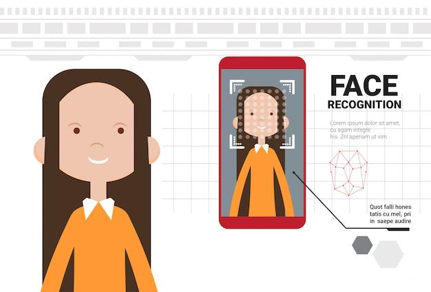 スマートフォンのスキャン女性の顔現代の識別システムバイオメトリック認識概念の現代の技術