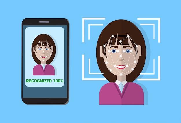 Биометрическая сканирующая система контроля защиты смартфон сканирование лица пользователя, концепция технологии распознавания лиц