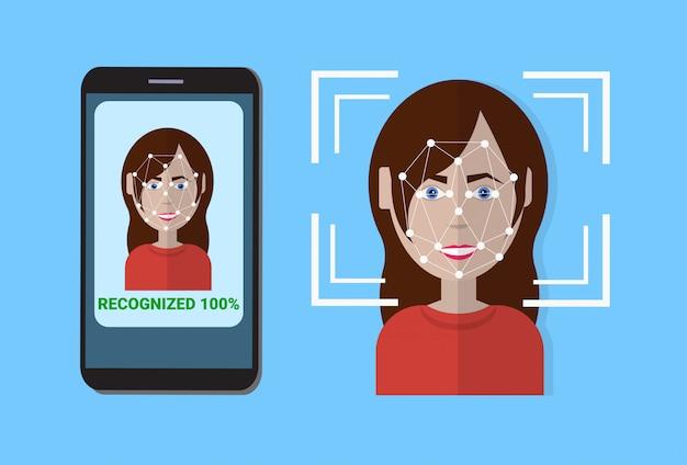 制御保護のバイオメトリックスキャンシステムスマートフォンのスキャンユーザーの顔、顔認識技術の概念