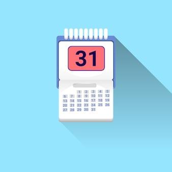 Значок календаря с тенью на синем фоне