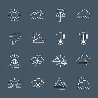 灰色の背景上の天気アイコンのセット気候予報コレクション