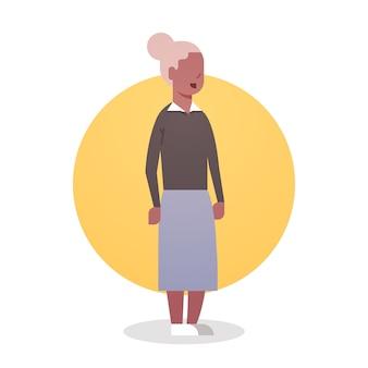 年配の女性アフリカ系アメリカ人の祖母白髪女性アイコン全身女性
