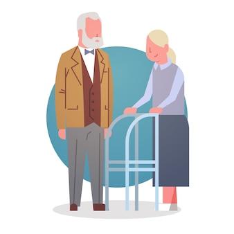 年配の男性と女性のカップル祖母と祖父の白髪のアイコン全長