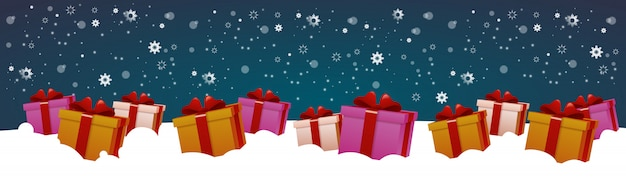 雪の冬の休日の装飾デザイン水平方向のバナーのプレゼントボックス