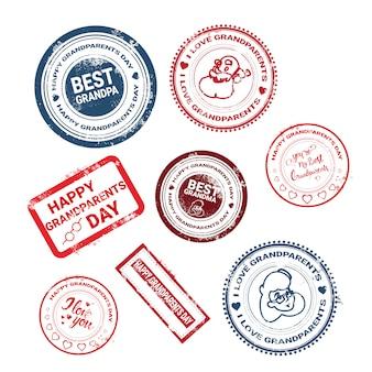 Счастливые бабушки и дедушки день марки коллекция поздравительных иконок