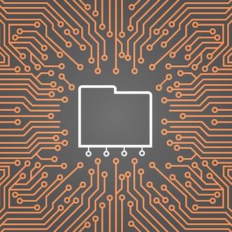 コンピューターチップ上のデータベースボード上の背景データセンターシステムコンセプトバナー