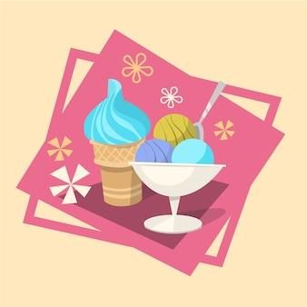 アイスクリーム夏の冷たいデザートアイコン