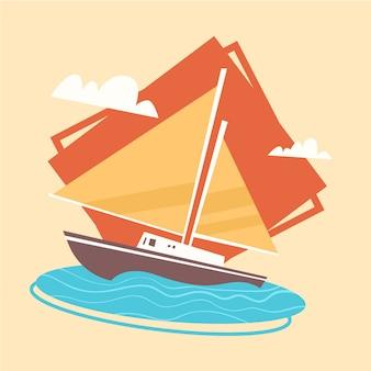 ヨットアイコン夏海休暇の概念夏季休暇