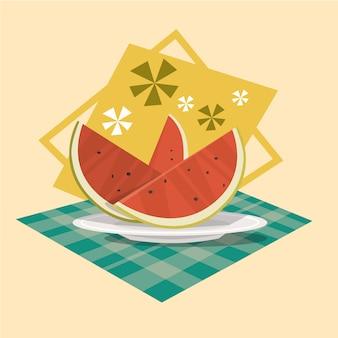 スイカアイコン夏海休暇の概念夏季休暇