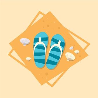 ビーチサンダルアイコン夏海休暇の概念夏季休暇