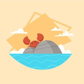 夏休み海の風景アイコン美しい島シースケープシーサイドホリデー