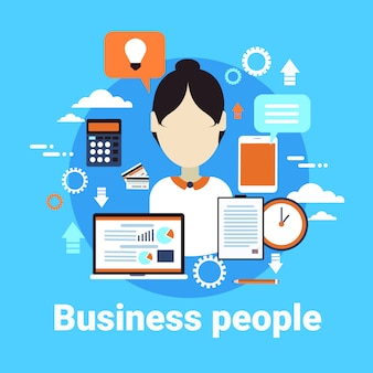 青色の背景にビジネスの人々女性のアバター