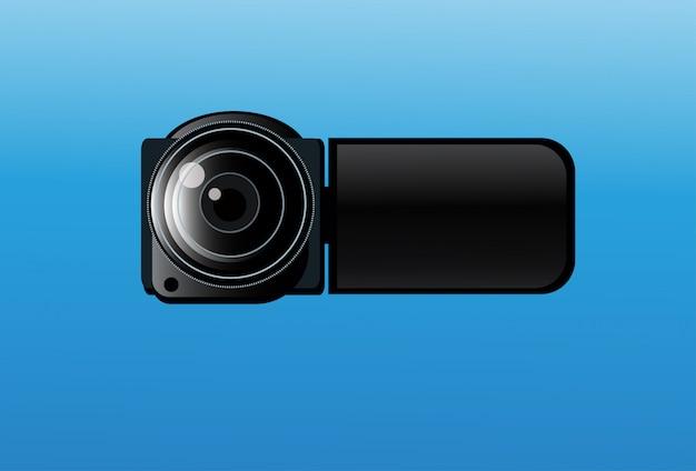 青色の背景にビデオカメラのアイコン