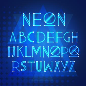 Алфавит неоновые буквы коллекция текст надписи набор