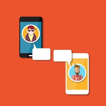 人が話す携帯スマートフォンチャットソーシャルネットワークコミュニケーション