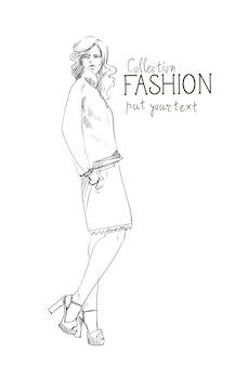 流行の服のスケッチを着て服の女性モデルのファッションコレクション