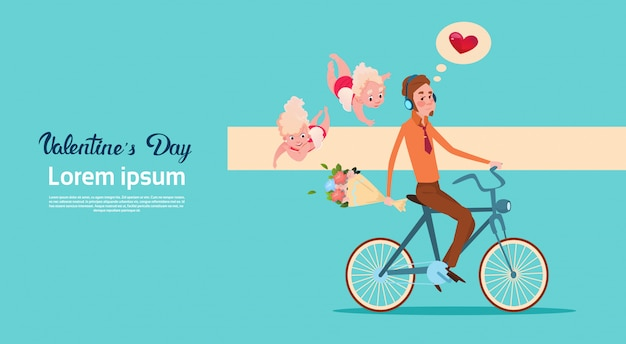 День святого валентина подарочная карта праздник любви амур человек езда на велосипеде с цветами