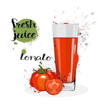 Томатный сок свежий рисованной акварель овощей и стекла на белом фоне