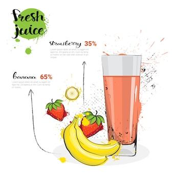 Банановый клубничный микс коктейль из свежевыжатого сока рисованной акварельные фрукты и стакан на белом фоне