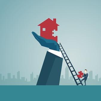 ビジネスマン、梯子の階段を上って家を建てる