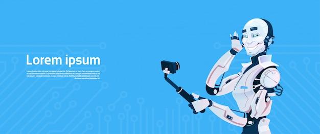Современный робот, делающий фотографии селфи, футуристический механизм искусственного интеллекта