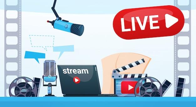 Видео блог камера онлайн поток блоггинг концепция подписки