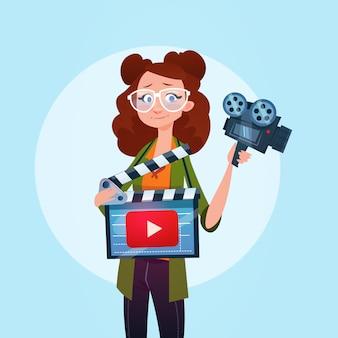 女性ビデオブロガーオンラインストリームブログ購読するコンセプト