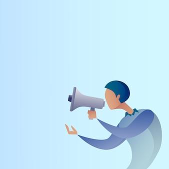 抽象的なビジネスマンはメガホン拡声器デジタルマーケティングの概念を保持します。