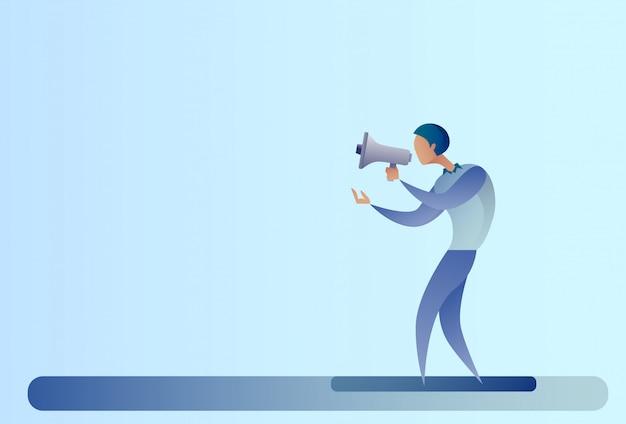 Абстрактная концепция маркетинга цифров владением громкоговорителя мегафона бизнесмена