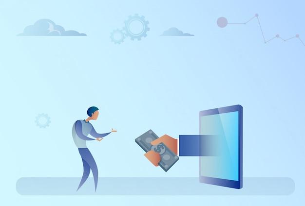 デジタルタブレットからお金を得るビジネスマンクラウドファンディング投資コンセプト
