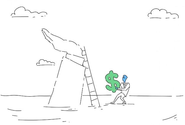 ビジネスの男性がドル記号を保持している梯子を登る
