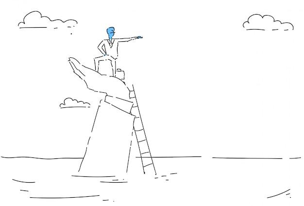ビジネスマンはしごを登るキャリアチャンス成長コンセプトファイナンス