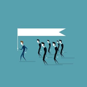 ビジネス人々のグループは、リーダーを保持しているリーダーのリーダーシップのアイデアのコンセプトに従ってください