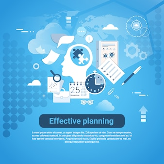 Эффективное планирование веб-баннер с копией пространства бизнес-концепция
