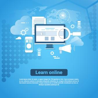 Узнайте онлайн шаблон веб-баннера с копией пространства концепция дистанционного образования