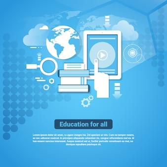 Образование для всех шаблонов веб-баннера с копией пространства узнайте онлайн концепции