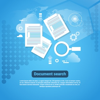 Шаблон веб-баннера с копией пространства концепция поиска документов