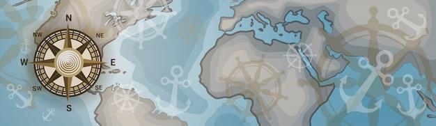 Карта мира горизонтальный баннер ретро винтаж стиль континентов